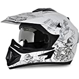 Vega OffOR-D/V-SKT-WS_M Road Sketch Full Face Graphic Helmet (White and Silver, M)