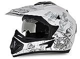 Vega Off Road OR-D/V-SKT-WS_L Sketch Motocross Graphic Helmet (White and Silver, L)