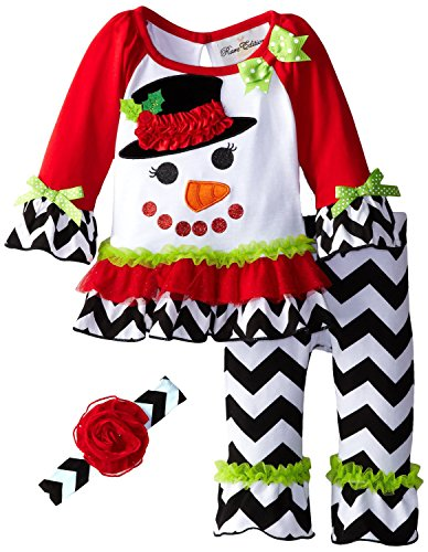 Rare Editions Baby-Girls 3M-24M Snowman Applique Legging/Headband Set (18 Months, White)