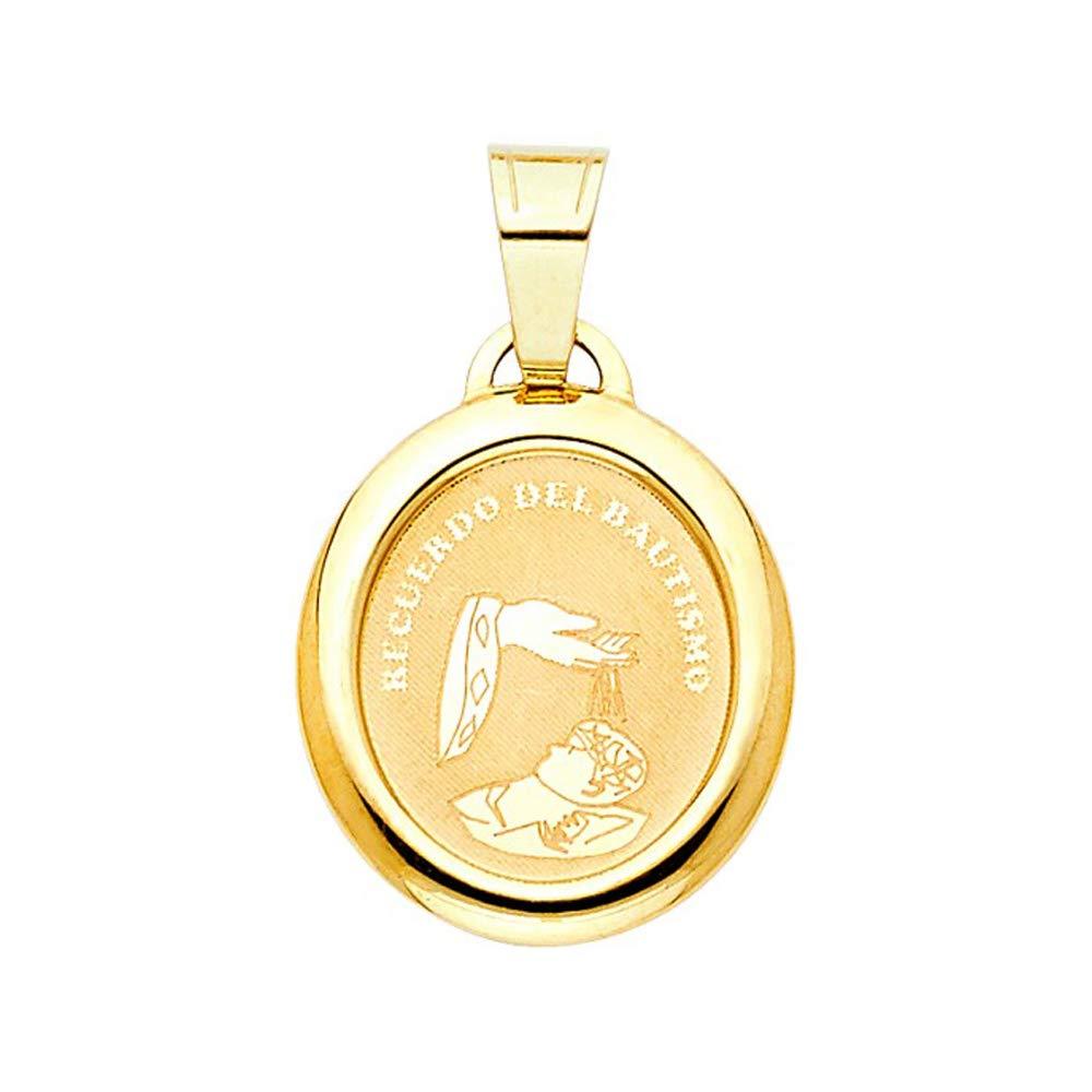 Precious Gem Jewellers 14k Yellow Gold Babys Baptism Engrave Medal Polished Pendant