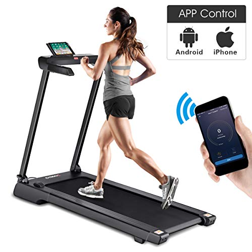 GOPLUS 2.25 HP Folding Treadmill Electric Cardio Fitness Jogging Running Machine Portable Motorized Power Slim Treadmill with Sports App and LED Display (Black) (Best Portable Electric Treadmill)