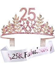 25th Birthday Party Decorations Supplies, 25th Princess Birthday Tiara Kit, Pink Rhinestone Birthday Crown, 25th Happy Birthday, 25 & Fabulous Pink Satin Sash, 25th Birthday Cake Topper