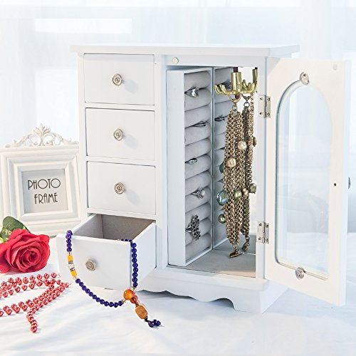 INART Wooden Jewelry Box Makeup and Accessories Organizer Girls Ring Storage with 4 Drawers and Swing Door, White Finish by INART (Image #1)