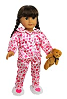 Doll Clothes for American Girl Dolls: 4 Piece Hearts and Kisses Pajamas Outfit -Dress Along Dolly (Includes Pajama Shirt Pants Heart Slippers and Teddy Bear)