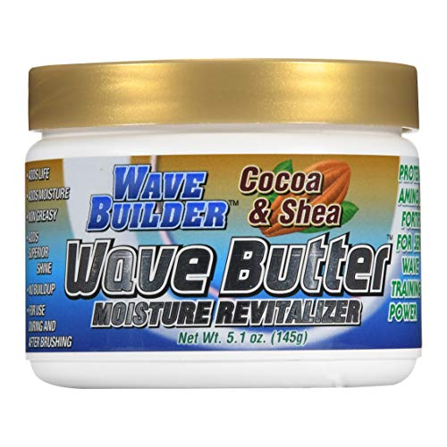 WaveBuilder Cocoa & Shea Wave Butter | Added Moisture and Shine Promotes Hair Waves, 5.1 oz (Best Hair Cream For Waves)