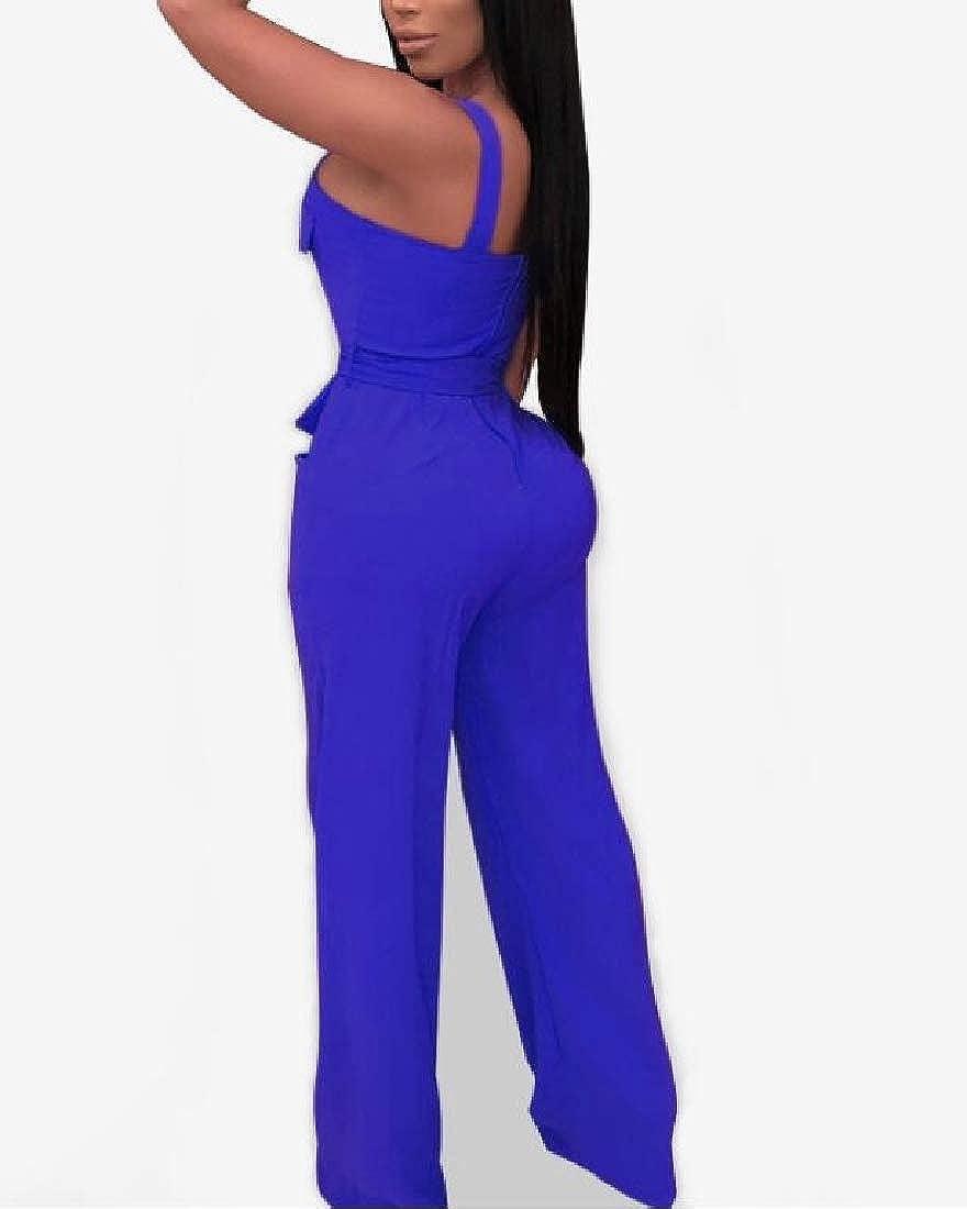 YIhujiuben Women/'s Spaghetti Strap Deep V Neck Drawstring Waist Jumpsuit Romper