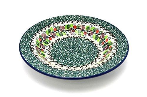 Polish Pottery Bowl - Soup/Pasta - Burgundy Berry Green