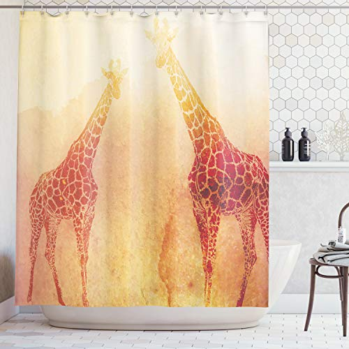 Ambesonne Safari Decor Shower Curtain Set, Illustration of Tropic African Giraffes Tallest Neck Animal Mammal in Retro Vintage Print, Bathroom Accessories, 69W X 70L Inches, Orange