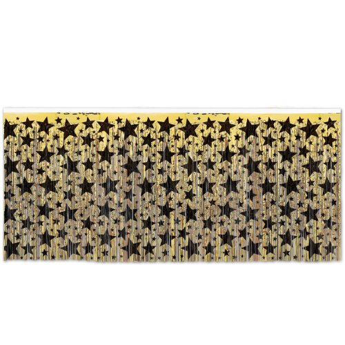 1-Ply FR Metallic Table Skirting (gold w/prtd black stars) Party Accessory  (1 count) (1/Pkg)