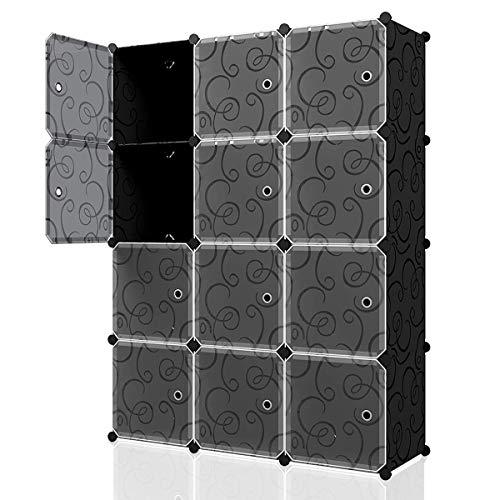 KOUSI Portable Cube Storage – 14″x14″ Cube Wire Cube Organizer Storage Organizer Clothes Storage Storage Shelves Shelf for Clothes Plastic Dresser Storage Cubes, Black (3×4 Cubes)