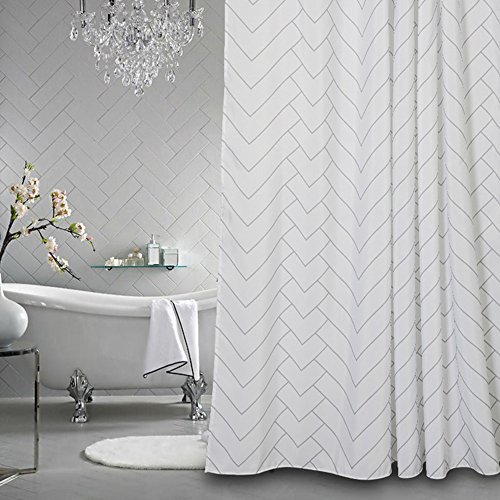 Hotel Quality White Striped Mold Resistant Fabric Shower Curtain for Bathroom,Water-Repellent 72 X 72 Inch (Curtain Tassel Shower)