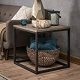 Barn Wood Coffee Tables for Sale Reclaimed Wood End Table, Rustic Charm Barn Door Look, Sofa End Coffee Square Table w/ Black Metal Frame, 24W x 24D x 24H in., Living Room Accent Furniture + Free Ebook