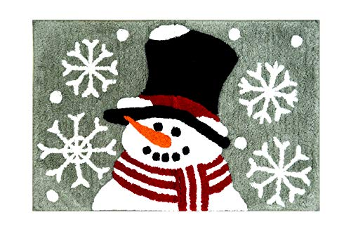 St. Nicholas Square Snowman Plush Bath Rug, Cotton Pile, 20 x 30 Inches, Christmas Traditions Winter Bathroom Decor (Rugs X 20 Christmas 30)