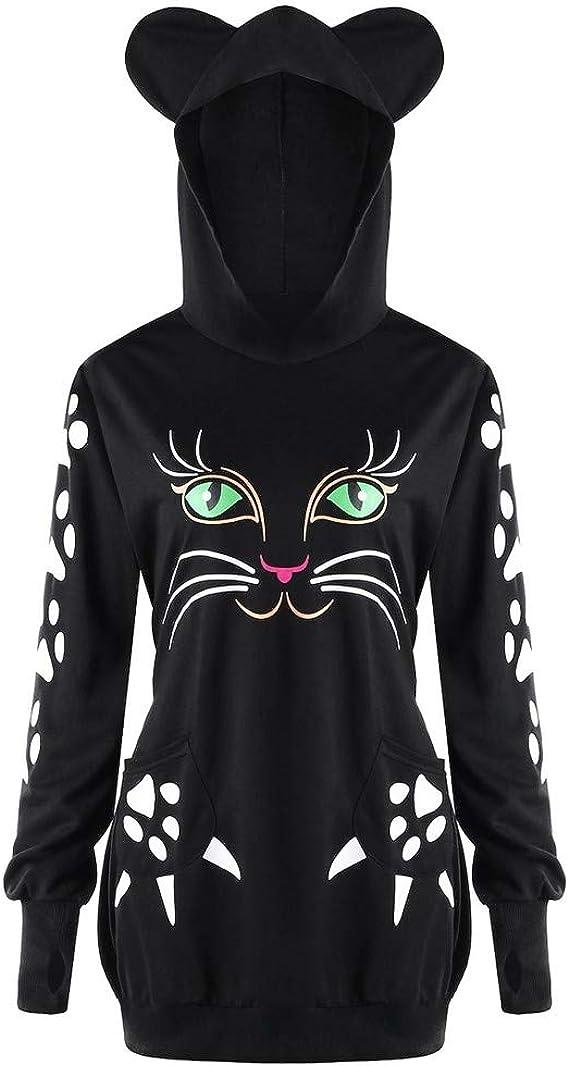 Femme Capuche Chat Sweat Shirt Imprimé Hoodies Kawaii