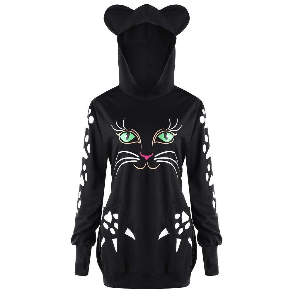 Sumen Women Cat Print with Ears Pullover Hoodie Hooded Sweatshirt Plus Size Tops