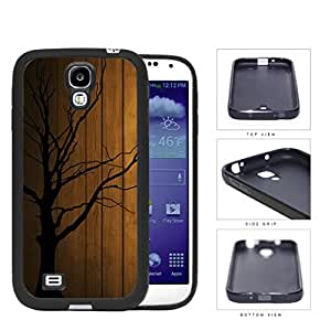 Dead Tree Silhouete With Brown Wood Background Rubber Silicone TPU Cell Phone Case Samsung Galaxy S4 SIV I9500