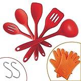 5 PCS Silicone Kitchen Utensils Set with Bonus Gloves&Two Hooks.Heat ...