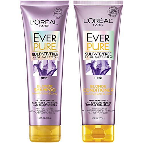 L'Oreal Paris Hair Care EverPure Blonde Sulfate Free Shampoo & Conditioner Kit for Color-Treated Hair, Neutralizes Brass + Balances, For Blonde Hair, Combo (8.5 Fl Oz each)