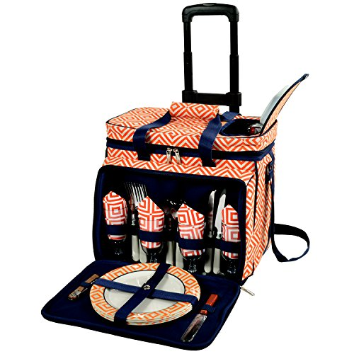 (Picnic at Ascot Equipped Picnic Cooler with Service for 4 on Wheels -)