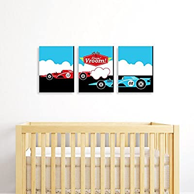 "Let's Go Racing - Racecar - Race Car Wall Art & Kids Room Decor - 7.5"" x 10"" - Set of 3 Prints"