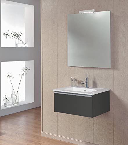 Amazon Com Royo Vida 24 Wall Hung Small Bathroom Vanity Cabinet With Sliding Drawer And Sink Dark Grey Made In Spain Kitchen Dining