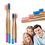 SoniFox Reusable Wooden bamboo toothbrushes for Family Child Kids Natural Organic Wood Toothbrush (4 pcs toothbrushes)
