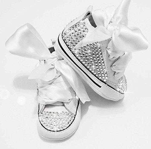 mit Schuhe Weiß 12M Baby Glitzer Geschenk Schwarz Luxus zur Taufe Strass 6 Geburt Converse oder Strasssteine BwExUUtqa