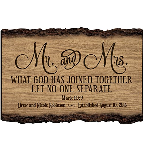 LifeSong Milestones Mr and Mrs Personalized Custom Family Name Sign Engraved with Family Name and Established Date to Remember Wedding Gift Ideas (Mr & ()