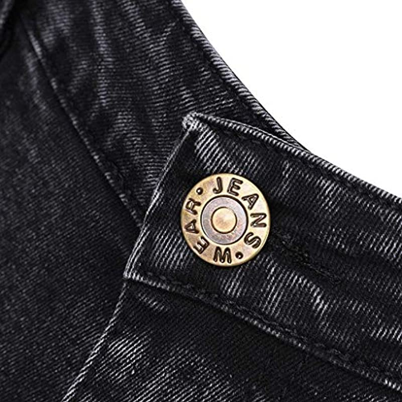 Emmay Männer Jeans Jeans Hose Jeanshosen Fit Slim Wesentlich Strech Skinny Destroyed Löchern Jeans Denim Männer Mode Vintage Casual Hosen (Color : Schwarz, Einheitsgröße : 32W/30L): Odzież