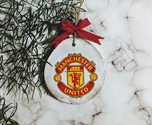 Burkewrusk Manchester United Ornament Christmas Decoration Man Cave Soccer Sports Fan Christmas Tree Rustic Wood Slice Customized