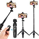 Eocean 40-inch Selfie Stick Tripod, Extendable Selfie Stick with Wireless Remote and Tripod Stand Compatible with All Smartphone