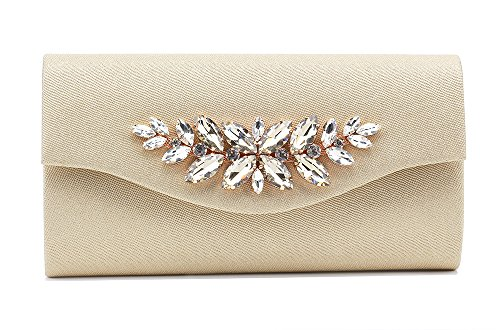 "Marswooden Women Handbag Envelope Rhinestone Evening Bag Clutch Purse PU Leather 9.8"" Gold for Cocktail Party Wedding"