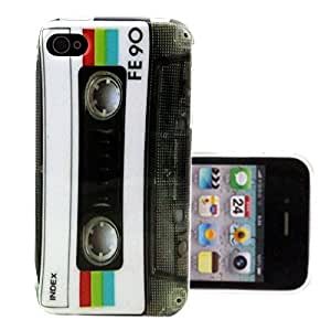 TUTUWEN White Tape Flexible Soft TPU Rear Case Cover for Apple iphone 4 4S