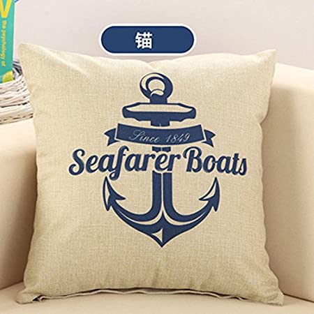 ZQ Home decorations General Blue cotton linen sofa pillow home accessories digital print cushion case 45*45cm , corsair - anchor Pillow ZQ