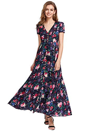 (Milumia Women's Button Up Split Floral Print Flowy Party Maxi Dress Multicolour-2 XX-Large)