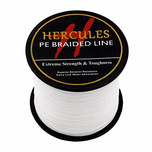 HERCULES 500m 547yds White 6lbs-100lbs Pe Braid Fishing Line 4 Strands (8lb/3.6kg 0.10mm)