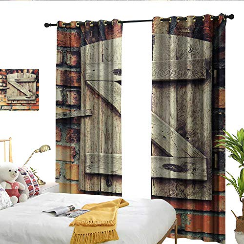 Rustic Sliding Curtains Natural Material Wooden Window of a Red Brick Country House Idyllic Pastoral Theme Set of Two Panels W84 x L96