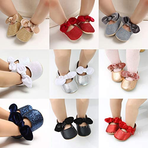 51EISKJzsDL. AC - Antheron Baby Girls Mary Jane Flats With Bowknot Non-Slip Toddler First Walkers Princess Dress Shoes