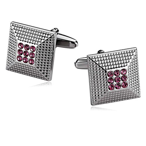 Aokarry Cufflinks-Stainless Steel Square Cuff Links for Men Pink