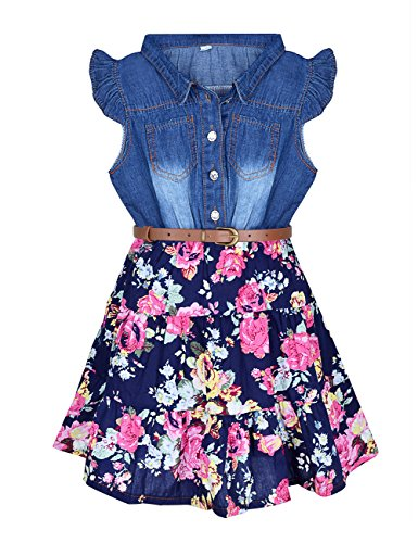 YJ.GWL Girls Dresses Denim Floral Swing Skirt with Belt Girls Fashion Clothes for 4-5 Years Size 130 Blue -