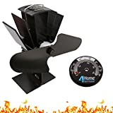 4YourHome Eco Friendly Silent Heat Powered Fan for Wood Log Burners + Free Stove Thermometer Satin Black