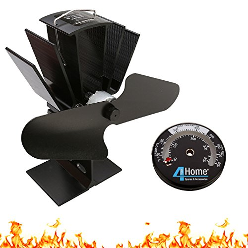 4YourHome Eco Friendly Silent Heat Powered Stove Fan For Wood Log Burners + Free Stove Thermometer Satin Black (Burner Fans Wood)