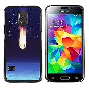 TopCaseStore / la caja del caucho duro de la cubierta de protección de la piel - Comet Earth Art Space Stars Atmosphere - Samsung Galaxy S5 Mini, SM-G800, NOT S5 REGULAR!