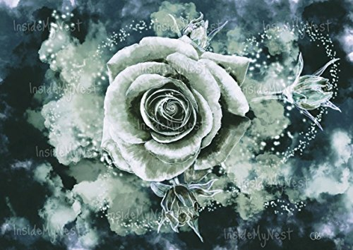 Midnight Rose Watercolor Flower Floral Painting Print Teal Blue Seagrass Art Deco Poster Magical Enchanted Fantasy A3 16x11 Unframed Art Deco Floral Print