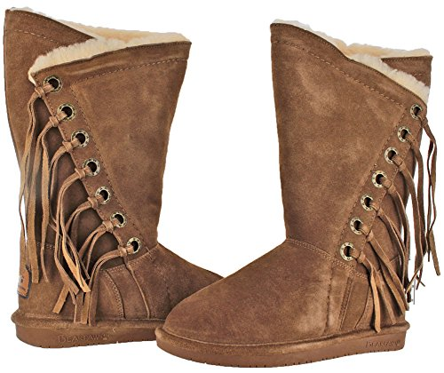 BEARPAW Womens Kathy 12 Winter Boots, Brown Cow Suede, Wool, Sheepskin Fur, 5 M