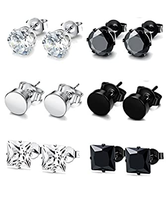 FUNRUN JEWELRY 4-6 Pairs Stainless Steel Stud Earrings for Men Women CZ Round Earrings Black 3-8mm