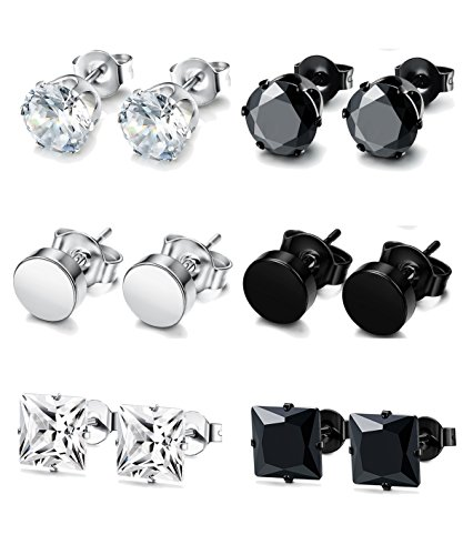FUNRUN JEWELRY 6 Pairs Stainless Steel Stud Earrings for Men Women CZ Round Earrings Black 7mm ()