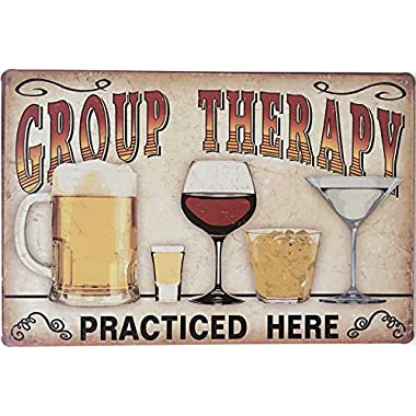 Uniquelover Group Therapy Practiced Here Retro Vintage Tin Sign 12  X 8  Inches