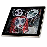3dRose ct_21468_6 The Fearsome Threesome Ghouls Ghoul Women Sisters Darkness Gothic Gothica Acrylic Painting Glass Tile, 6-Inch
