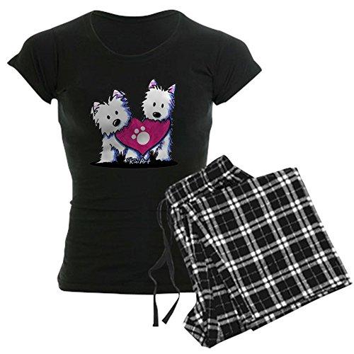 Plaid Highland Pant Ladies (CafePress Valentine Westies Women's Dark Pajamas - Womens Novelty Cotton Pajama Set, Comfortable PJ Sleepwear)